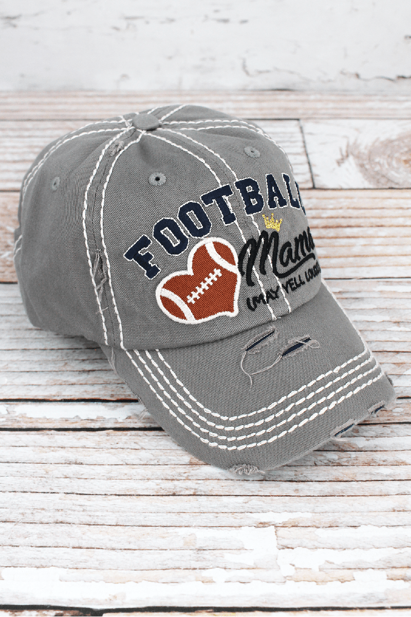 Distressed Light Gray 'Football Mama (May Yell Loudly)' Cap