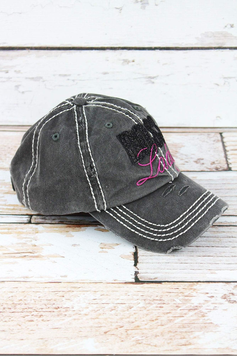 Distressed Black with Glitter 'Boss Lady' Cap