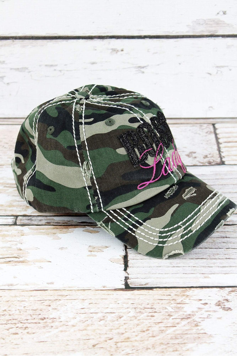 Distressed Camo with Glitter 'Boss Lady' Cap