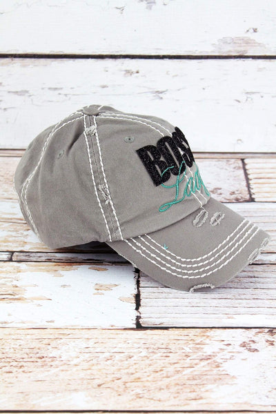Distressed Steel Gray with Glitter 'Boss Lady' Cap
