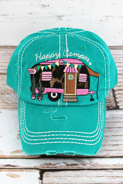 Distressed Turquoise with Leopard 'Happy Camper' Cap