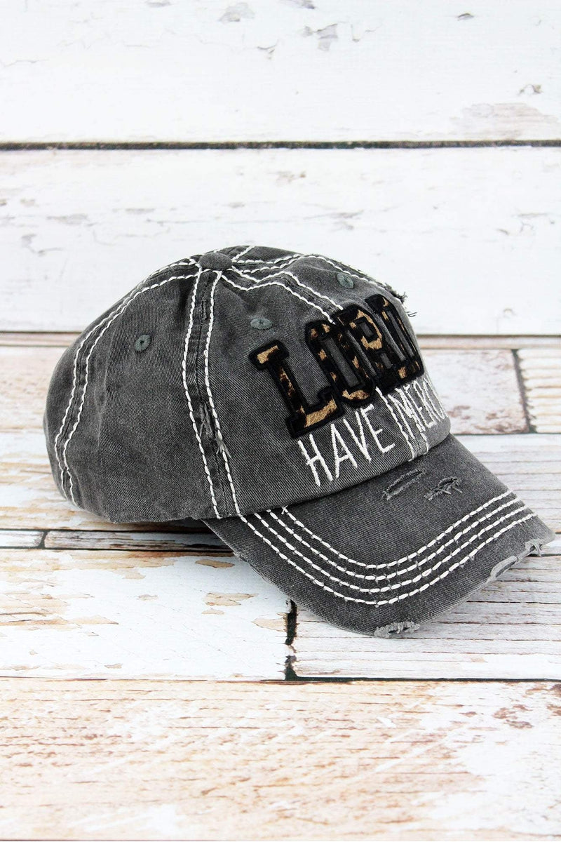 Distressed Black with Leopard 'Lord Have Mercy' Cap