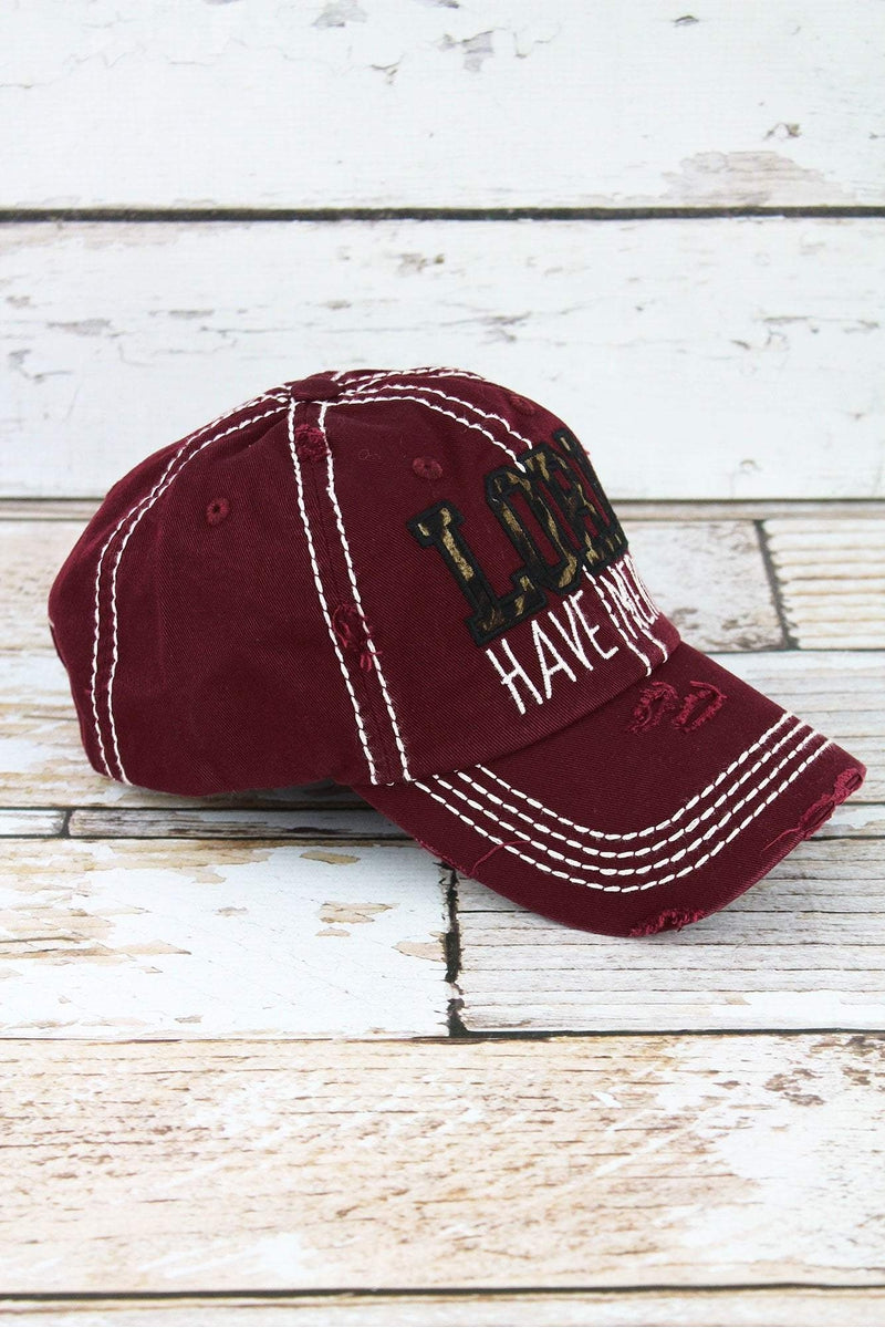 Distressed Burgundy with Leopard 'Lord Have Mercy' Cap