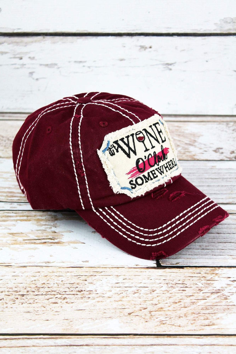 Distressed Burgundy 'It's Wine O'Clock Somewhere' Cap