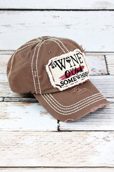 Distressed Mocha 'It's Wine O'Clock Somewhere' Cap