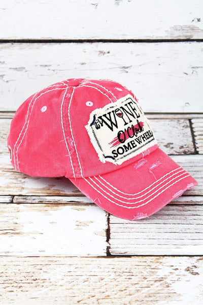 Distressed Salmon 'It's Wine O'Clock Somewhere' Cap