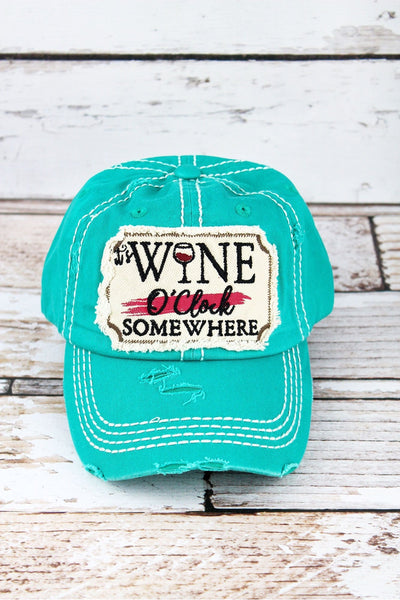 Distressed Turquoise 'It's Wine O'Clock Somewhere' Cap