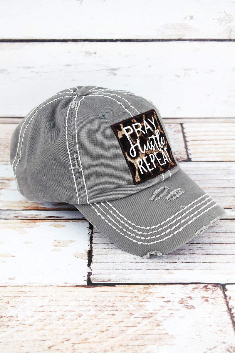 Distressed Steel Gray with Leopard 'Pray Hustle Repeat' Cap