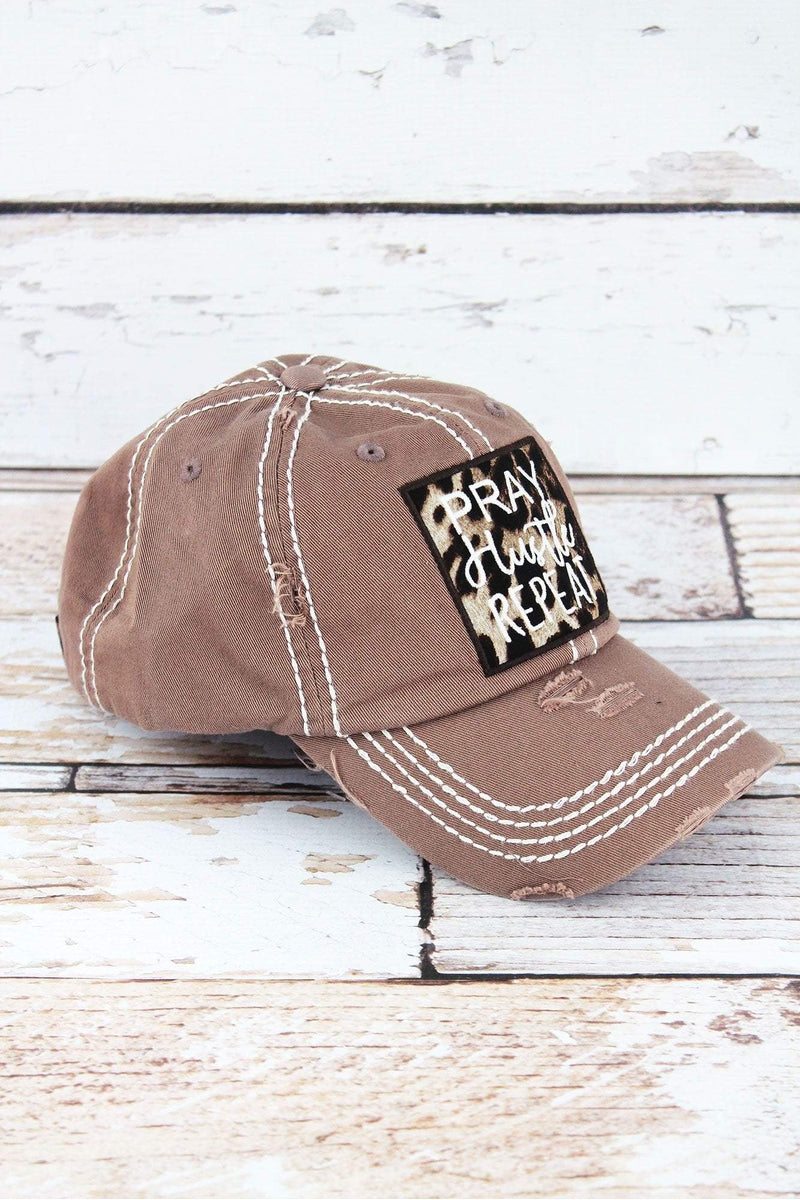 Distressed Mocha with Leopard 'Pray Hustle Repeat' Cap