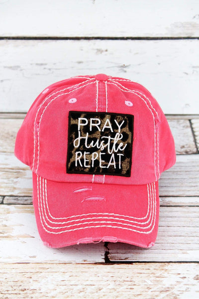 Distressed Salmon with Leopard 'Pray Hustle Repeat' Cap