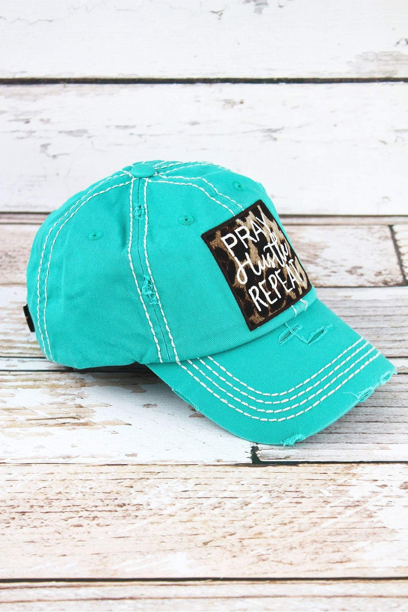 Distressed Turquoise with Leopard 'Pray Hustle Repeat' Cap