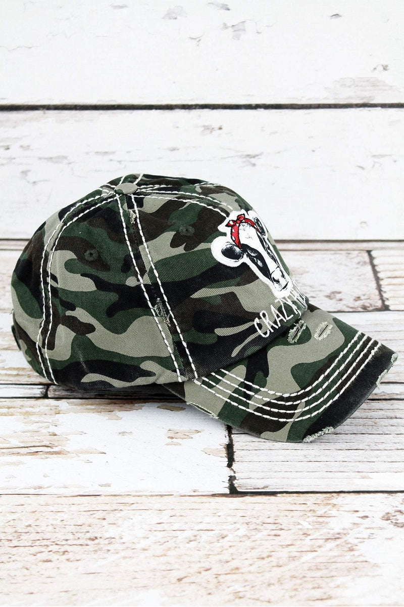 Distressed Camo 'Crazy Heifer' Cap
