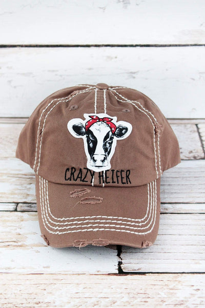 Distressed Mocha 'Crazy Heifer' Cap