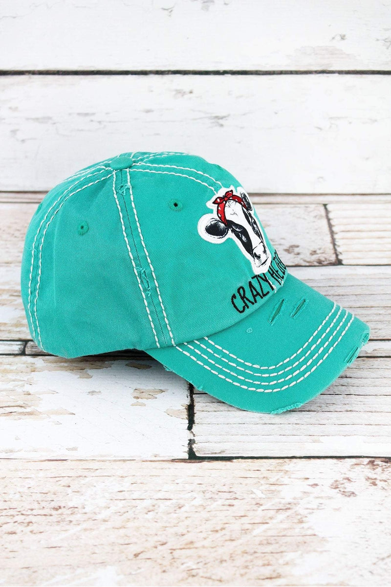 Distressed Turquoise 'Crazy Heifer' Cap