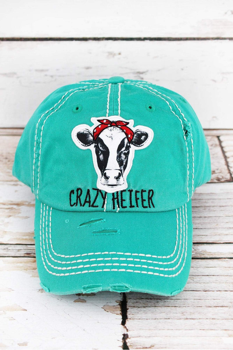 f78daea9c0e342 Distressed Turquoise 'Crazy Heifer' Cap | Wholesale Accessory Market