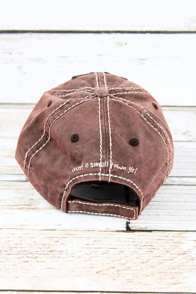 Distressed Brown 'Just A Small Town Girl' Cap