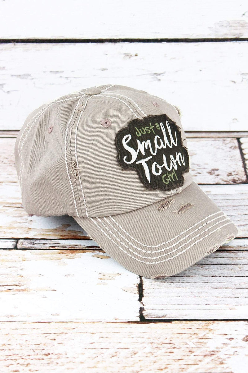Distressed Khaki 'Just A Small Town Girl' Cap