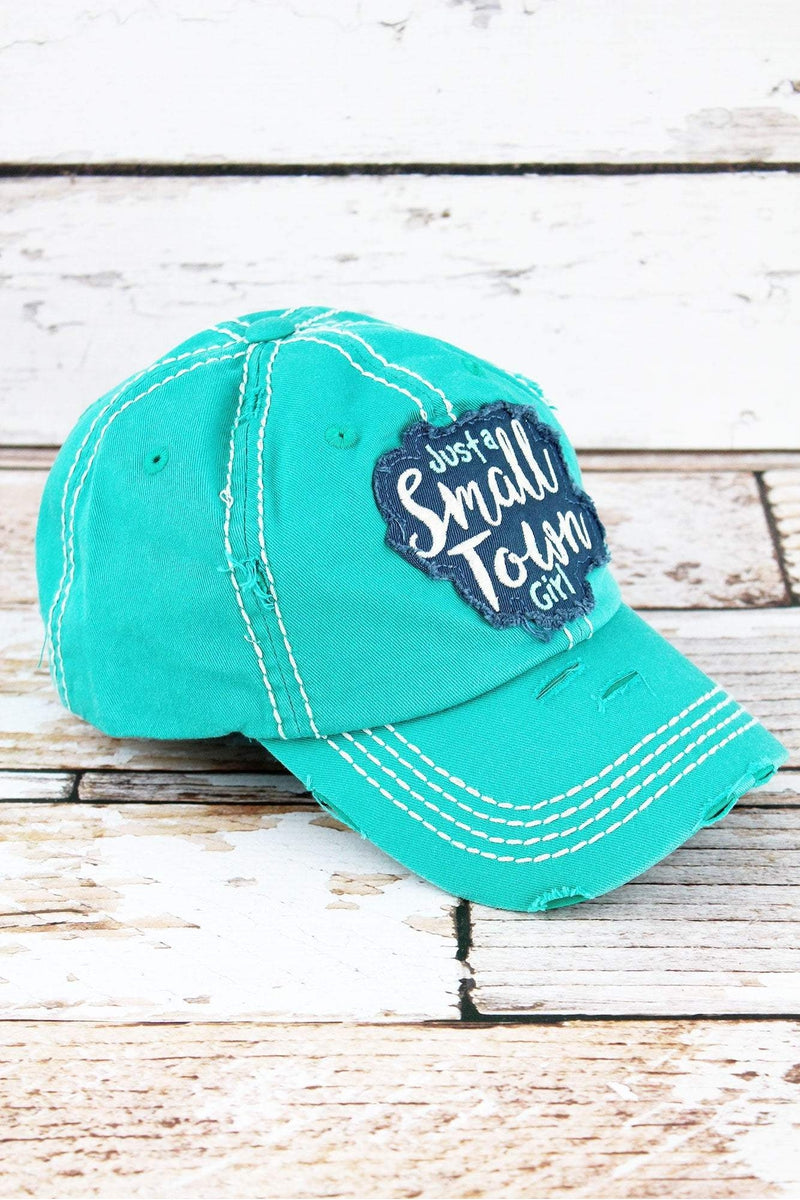 Distressed Turquoise 'Just A Small Town Girl' Cap