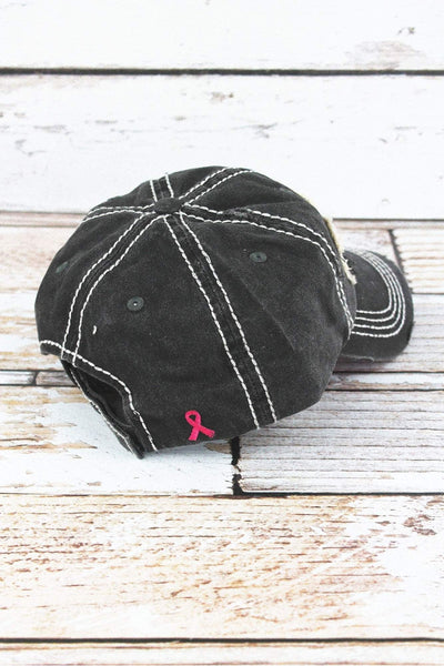 Distressed Black 'This Is My Fight Hat' Pink Ribbon Cap