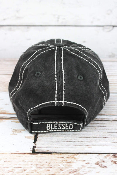 Distressed Black 'Thankful & Blessed' Cap