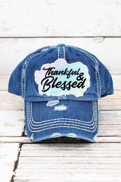 Distressed Medium Wash Denim 'Thankful & Blessed' Cap