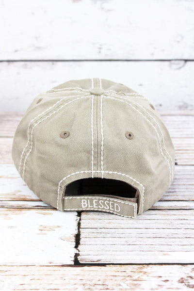 Distressed Khaki 'Thankful & Blessed' Cap