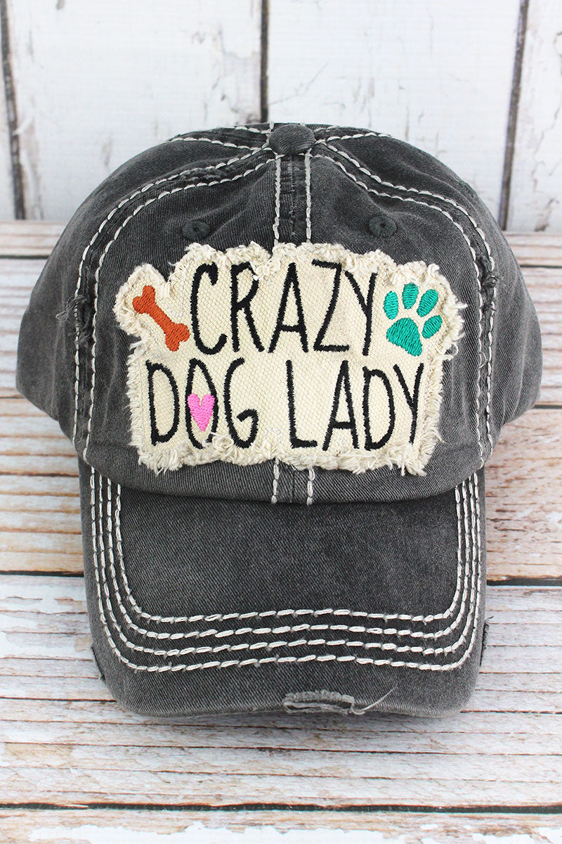 Distressed Black 'Crazy Dog Lady' Cap