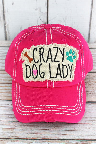 Distressed Hot Pink 'Crazy Dog Lady' Cap