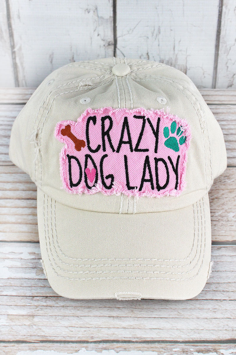 Distressed Stone 'Crazy Dog Lady' Cap