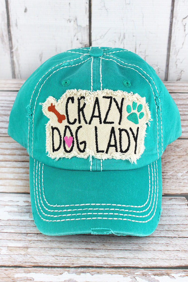 Distressed Turquoise 'Crazy Dog Lady' Cap