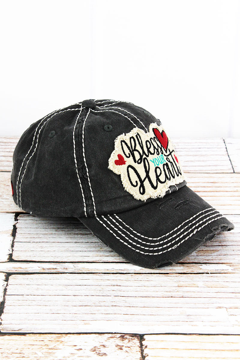 32ecf4cbac8 Distressed Black  Bless Your Heart  Cap