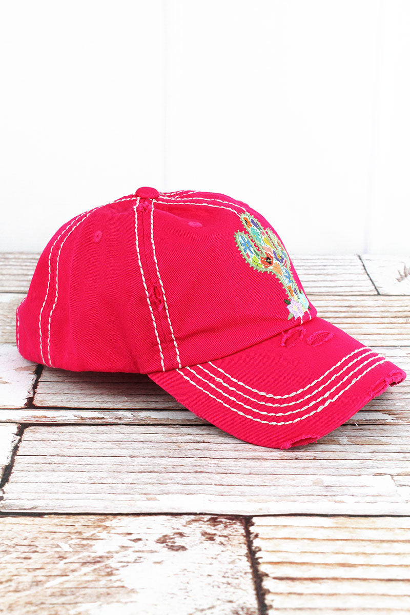 Distressed Hot Pink Floral Cactus Cap