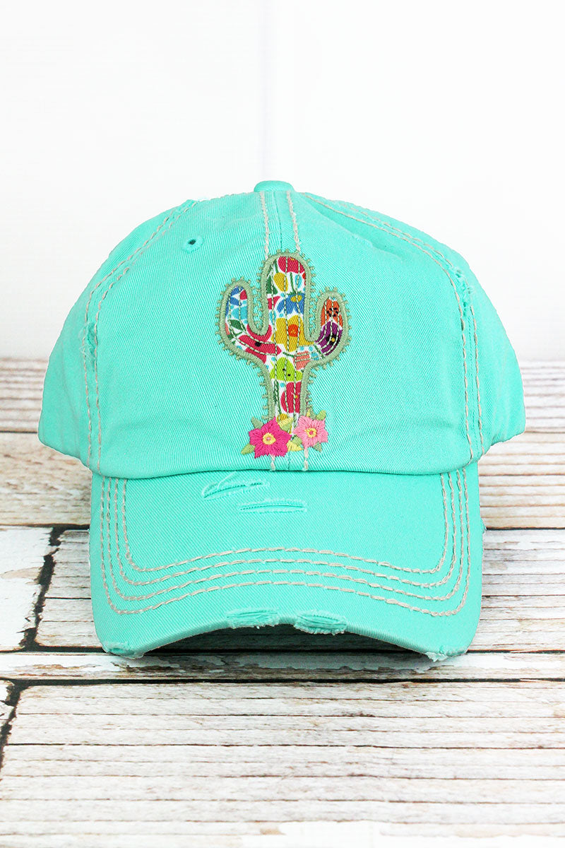 Distressed Mint Blue Floral Cactus Cap