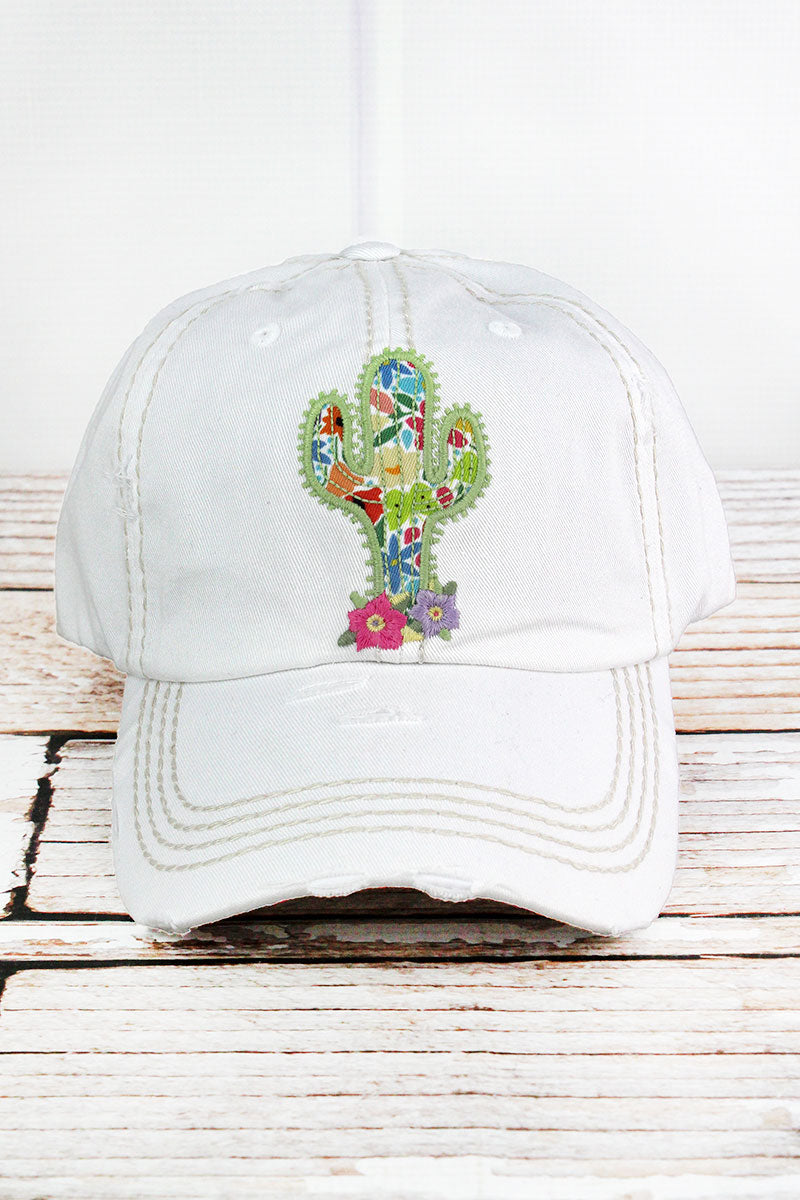 Distressed White Floral Cactus Cap