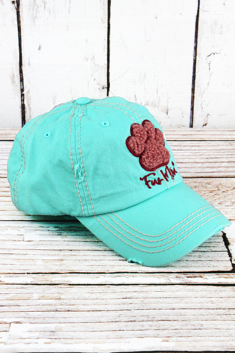 Distressed Mint Blue 'Fur Mom' Furry Paw Print Cap