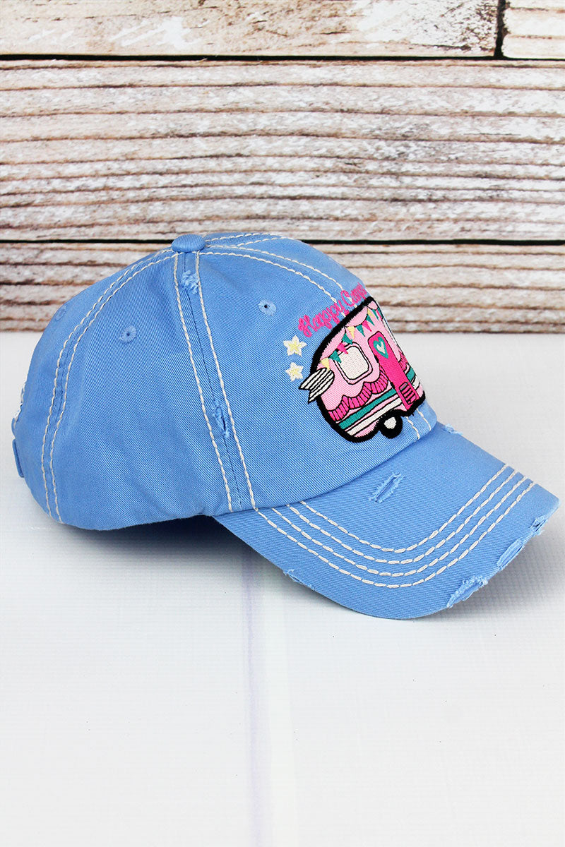 Distressed Sky Blue 'Happy Camper' Cap
