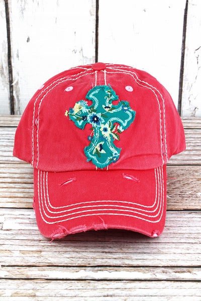 Distressed Salmon Floral Cross Cap