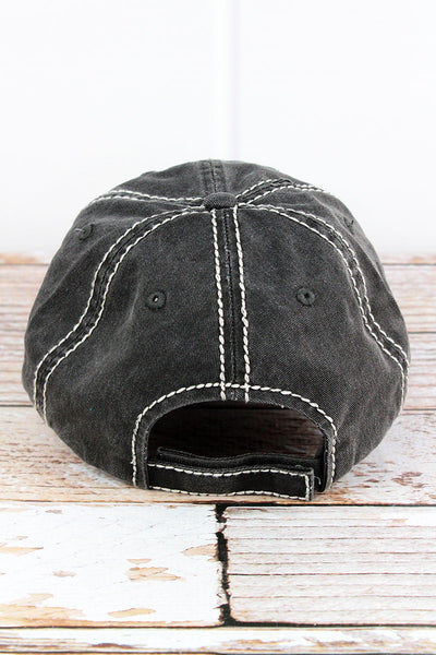 Distressed Black 'This Heifer Don't Take No Bull' Cap