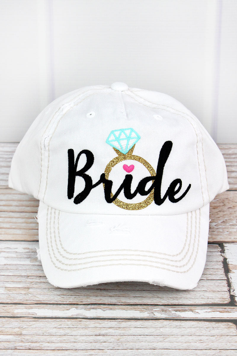Distressed White with Black 'Bride' Diamond Ring Cap