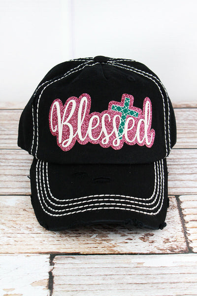 Distressed Black with Glitter 'Blessed' Cap