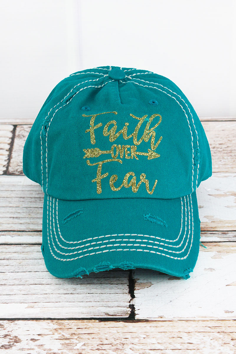 Distressed Turquoise 'Faith Over Fear' Cap