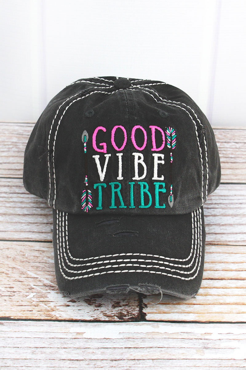 Distressed Black 'Good Vibe Tribe' Cap