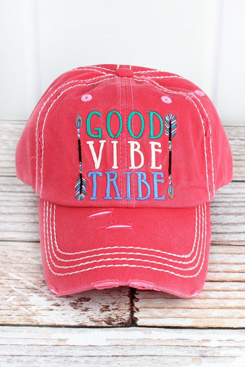 Distressed Salmon 'Good Vibe Tribe' Cap