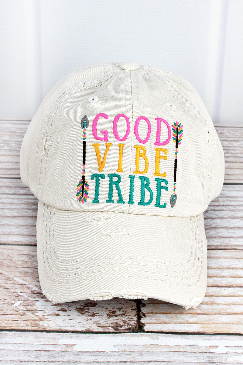 Distressed Stone 'Good Vibe Tribe' Cap
