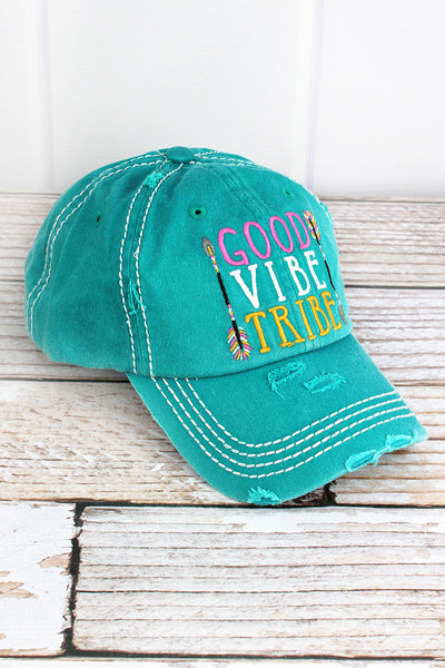 Distressed Turquoise 'Good Vibe Tribe' Cap