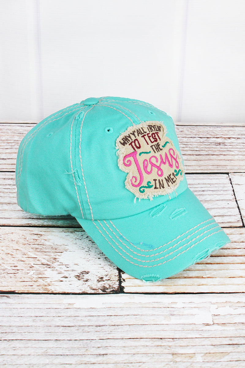 Distressed Mint Blue 'The Jesus In Me' Cap