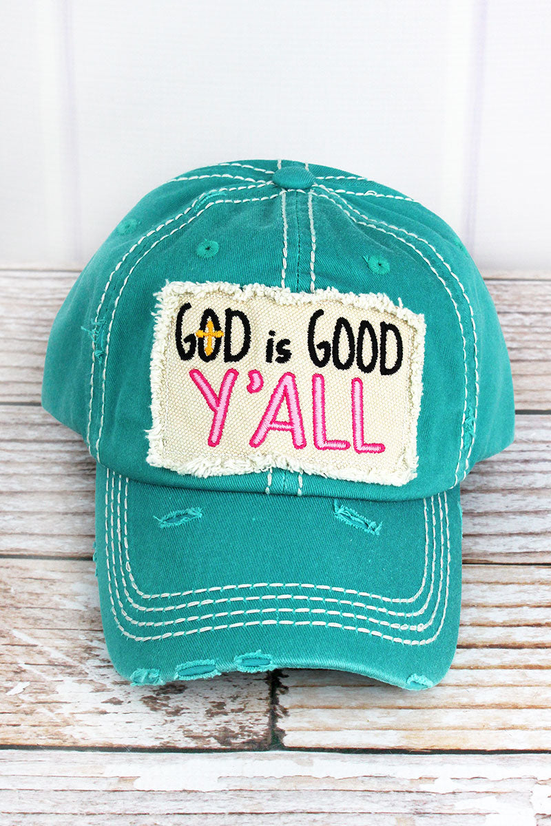 Distressed Turquoise 'God Is Good Y'all' Cap