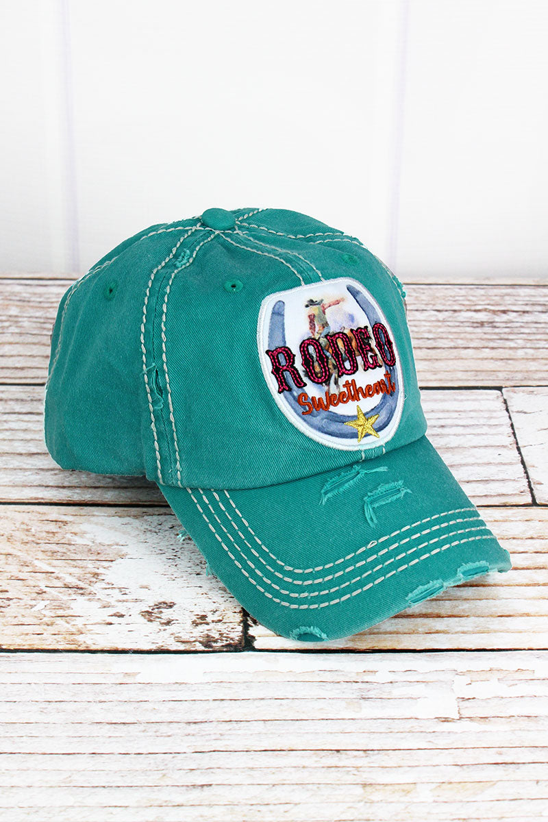 Distressed Turquoise 'Rodeo Sweetheart' Cap