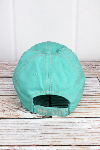 Distressed Mint Blue 'Mama Bear' Cap