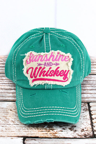 Distressed Turquoise 'Sunshine And Whiskey' Cap